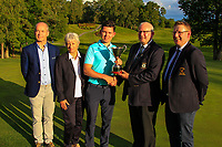 Michael Heeney (Chairman Connacht Golf) presents the cup to Peter McKeever (Castle) winner of the Connacht Stroke Play Championship 2019 at Portumna Golf Club, Portumna, Co. Galway, Ireland. 09/06/19<br /> Also in the photo: Brendan Penny (Sponsor:Murray Timber Group), Dagmar Ullrich Werner (Lady Captain) and James McLoughlin (Captain Portumna).<br /> <br /> Picture: Thos Caffrey / Golffile<br /> <br /> All photos usage must carry mandatory copyright credit (© Golffile | Thos Caffrey)