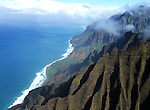 Aerial view of the Na Pali Coast on the island of Kauai in Hawaii.