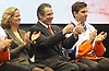 New York State Governor Andrew Cuomo, center, flashes two thumbs up as he sits alongside Nassau County Executive Laura Curran and New York Islanders captain John Tavares during a news conference at Nassau Coliseum on Monday, Jan. 29, 2018. Cuomo announced the site will host a portion of Islanders home games over the next three seasons as the team's new arena at Belmont is being constructed.