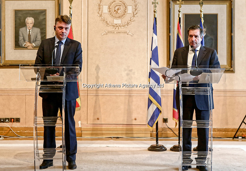 Pictured: (L-R) Mayor of Skopje Petre Silegov and Mayor of Athens Giorgos Kaminis hold a press conference. Friday 09 February 2018<br /> Re: Mayor of Athens Giorgos Kaminis and the Mayor of Skopje in the Former Yugoslav Republic of Macedonia, Petre Silegov have met at the Athens City Hall in Greece.