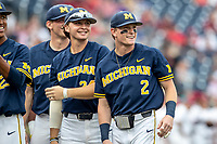 Michigan Wolverines shortstop Jack Blomgren (2) before Game 6 of the NCAA College World Series against the Florida State Seminoles on June 17, 2019 at TD Ameritrade Park in Omaha, Nebraska. Michigan defeated Florida State 2-0. (Andrew Woolley/Four Seam Images)
