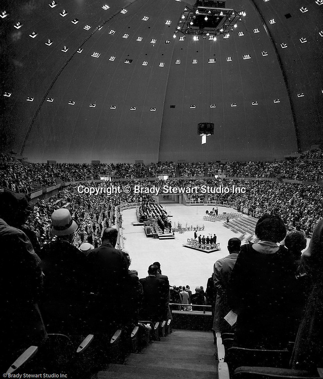 Pittsburgh PA:  View of the annual Easter Sunrise Services held at the Civic Arena - 1962.  The Council of Churches staged the event that included members of local Catholic, Presbyterian, Lutheran, Baptist and other denominations in the Pittsburgh Area.  This year the the roof was not opened due to weather.<br />