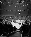 Pittsburgh PA:  View of the annual Easter Sunrise Services held at the Civic Arena - 1962.  The Council of Churches staged the event that included members of local Catholic, Presbyterian, Lutheran, Baptist and other denominations in the Pittsburgh Area.  This year the the roof was not opened due to weather.<br /> The Council of Churches was a merger of three local groups; Allegheny County Sabbath School Association, the Pittsburgh Council of Churches and the Council of Weekday Religious Education.  The council's objection was to better relate and understand other religions including the local Jewish, African American, Catholic and Christian churches in the downtown Pittsburgh area.