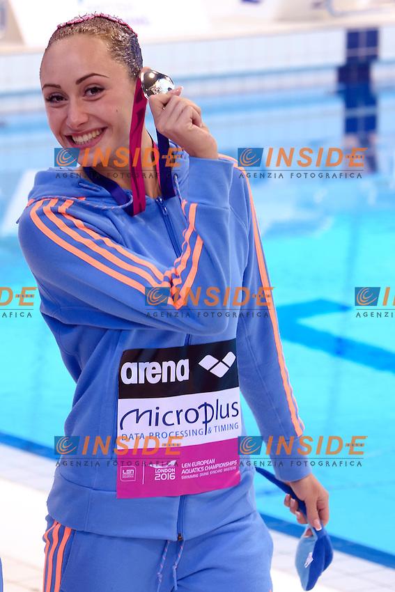 ANANASOVA Lolita UKR Ukraine Silver Medal <br /> Duet Technical Final <br /> London, Queen Elizabeth II Olympic Park Pool <br /> LEN 2016 European Aquatics Elite Championships <br /> Synchronized Swimming <br /> Day 05 13-05-2016<br /> Photo Andrea Staccioli/Deepbluemedia/Insidefoto
