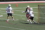 Orange, CA 05/02/10 - Matt Sathrum (Chapman # 16) stops a shot on goal as Spencer Halvorsen (Chapman # 30) and Eric Nelson (ASU # 13) look on during the Chapman-Arizona State MCLA SLC Division I final at Wilson Field on Chapman University's campus.  Arizona State defeated Chapman 13-12 in overtime.