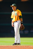 Second baseman Steve DalPorto #2 of the Baylor Bears on defense against the Rice Owls at Minute Maid Park on March 6, 2011 in Houston, Texas.  Photo by Brian Westerholt / Four Seam Images