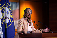 United States Delegate Eleanor Holmes Norton (Democrat of the District of Columbia) speaks during a news conference with Speaker of the United States House of Representatives Nancy Pelosi (Democrat of California) regarding the vote by mail provision in the Heroes Act at the United States Capitol in Washington D.C., U.S. on Thursday, May 21, 2020. Credit: Stefani Reynolds / CNP/AdMedia