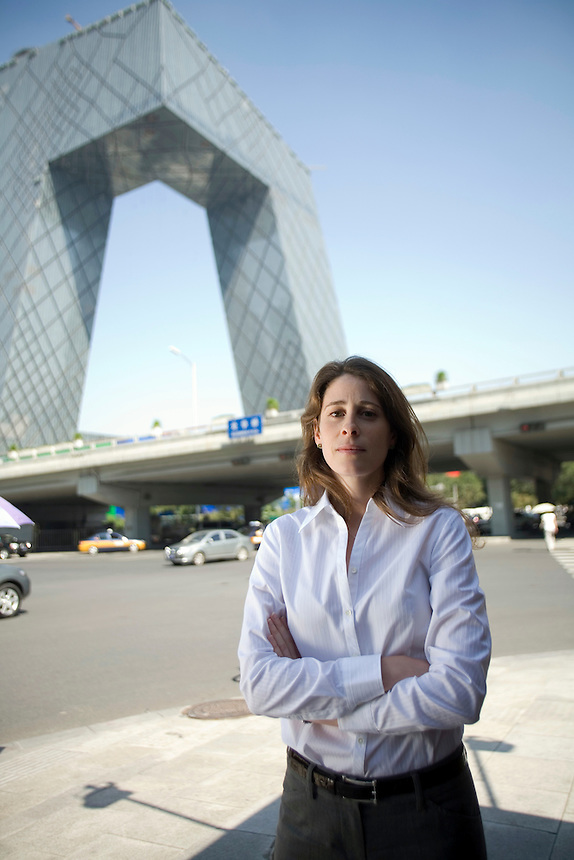 Annie Lagacé, of Montreal, canada in Beijng, near the new CCTV tower.