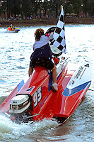 Winner R.J. West, (#93) takes a Victory Lap.  (SST-45 class)