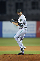 Augusta GreenJackets relief pitcher CJ Gettman (40) in action against the Greensboro Grasshoppers at First National Bank Field on April 10, 2018 in Greensboro, North Carolina.  The GreenJackets defeated the Grasshoppers 5-0.  (Brian Westerholt/Four Seam Images)