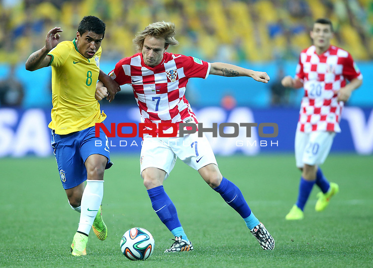 2014 Fifa World Cup opening game from group A against Brazil and Croatia.<br /> Ivan Rakitic, Paulinho<br /> <br /> Foto &copy;  nph / PIXSELL / Sajin Strukic