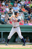 Center fielder Connor Lien (7) of the Rome Braves bats in a game against the Greenville Drive on Sunday, August 3, 2014, at Fluor Field at the West End in Greenville, South Carolina. Rome won, 4-2. (Tom Priddy/Four Seam Images)
