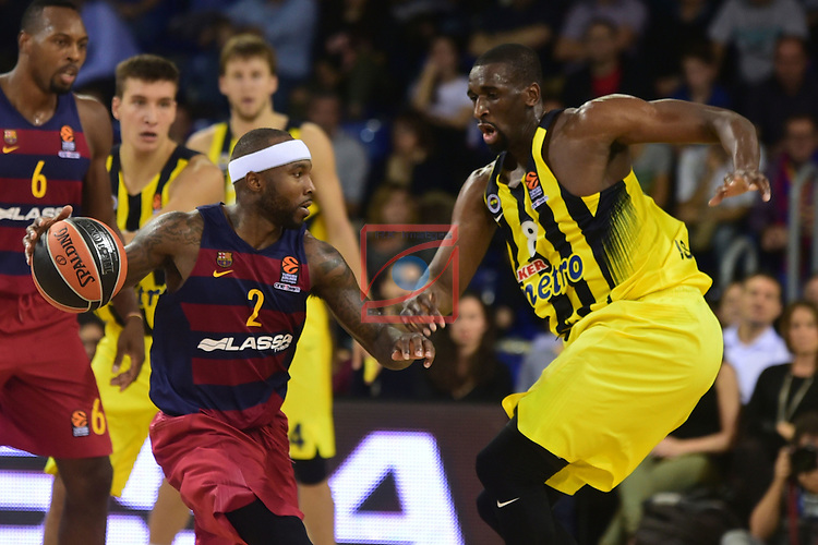 Turkish Airlines Euroleague 2016/2017.<br /> Regular Season - Round 2.<br /> FC Barcelona Lassa vs Fenerbahce Istanbul: 72-73.<br /> Tyrese Rice vs Ekpe Udoh.
