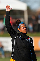 Sky Blue FC goalkeeper Brittany Cameron (1) is introduced prior to playing the Western New York Flash. Sky Blue FC defeated the Western New York Flash 1-0 during a National Women's Soccer League (NWSL) match at Yurcak Field in Piscataway, NJ, on April 14, 2013.