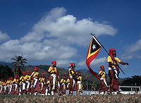 May 20th, 2004_DILI, TIMOR-LESTE_ Members of Timor's Honor Guard participate in the annual Restoration of Independence Day celebrations on May 20 at the National Stadium in Dili. Photographer: Daniel J. Groshong/Tayo Photo Group