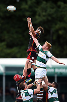 James Benjamin of the Dragons competes with Tom Denton of Ealing Trailfinders for the ball at a lineout. Pre-season friendly match, between Ealing Trailfinders and the Dragons on August 11, 2018 at the Trailfinders Sports Ground in London, England. Photo by: Patrick Khachfe / Onside Images