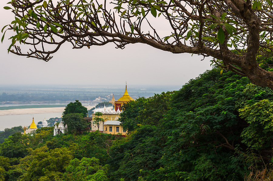 MANDALAY, MYANMAR - CIRCA DECEMBER 2013: View from one of the terraces in the SoneOoPoneNyaShin Pagoda in Sagaing