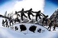 Italian freestyle snowboarder Marco Donzelli rides in Bardonecchia, Italy.