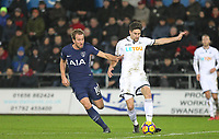 Federico Fernandez of Swansea City & Harry Kane of Spurs during the Premier League match between Swansea City and Tottenham Hotspur at the Liberty Stadium, Swansea, Wales on 2 January 2018. Photo by Mark Hawkins / PRiME Media Images.