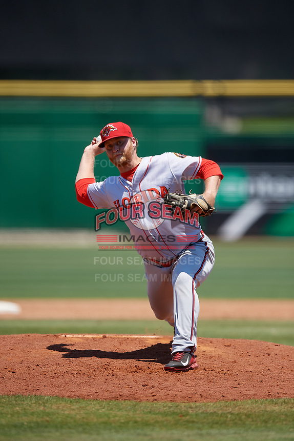 Florida Fire Frogs relief pitcher Cutter Dyals (18) during a Florida State League game against the Clearwater Threshers on April 24, 2019 at Spectrum Field in Clearwater, Florida.  Clearwater defeated Florida 13-1.  (Mike Janes/Four Seam Images)