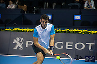VALENCIA, SPAIN - OCTOBER 28: Bernard Tomic during Valencia Open Tennis 2015 on October 28, 2015 in Valencia , Spain