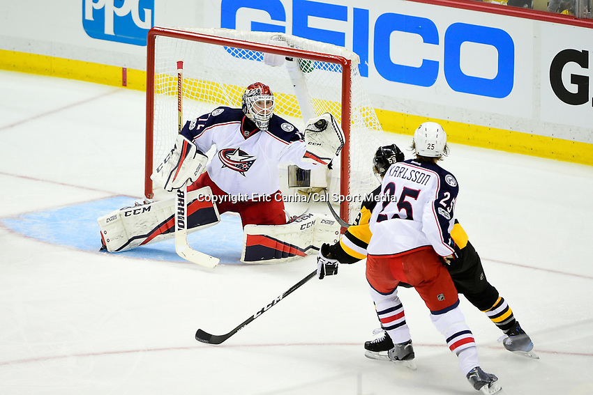 Wednesday, April 12, 2017: Columbus Blue Jackets goalie Sergei Bobrovsky (72) gloves the puck during game 1 of round one of the National Hockey League Eastern Conference Stanley Cup Playoffs between the Columbus Blue Jackets and the Pittsburgh Penguins, held at PPG Paints Arena, in Pittsburgh, PA.  Pittsburgh defeats Columbus 3-1. Eric Canha/CSM