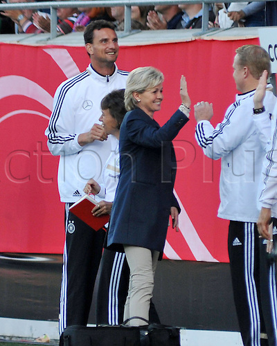 17.09.2014. Heidenheim, Germany. Womens World Cup football qualifier. Germany versus Republic of Ireland.  Manager Silvia NEID (Ger) celebrates her teams goal for 2:0