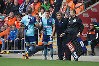 Garry Thompson of Wycombe Wanderers is replaced by Dayle Southwell during the Sky Bet League 2 match between Blackpool and Wycombe Wanderers at Bloomfield Road, Blackpool, England on 20 August 2016. Photo by James Williamson / PRiME Media Images.