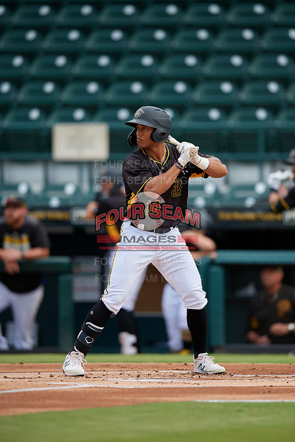 Bradenton Marauders Cal Mitchell (34) at bat during a Florida State League game against the Palm Beach Cardinals on May 10, 2019 at LECOM Park in Bradenton, Florida.  Bradenton defeated Palm Beach 5-1.  (Mike Janes/Four Seam Images)
