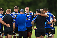 Jamie Roberts of Bath Rugby looks on in a huddle. Bath Rugby pre-season training on August 8, 2018 at Farleigh House in Bath, England. Photo by: Patrick Khachfe / Onside Images