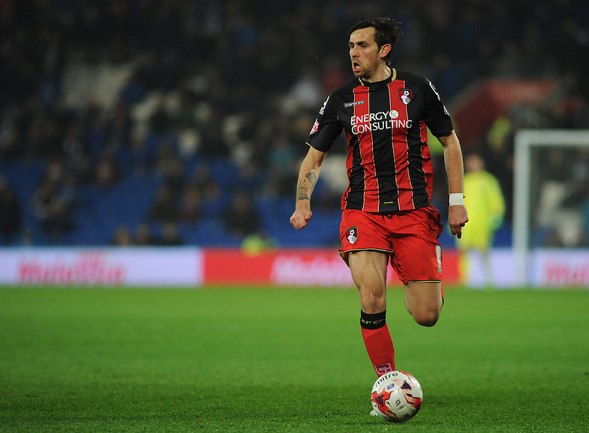 Bournemouth's Charlie Daniels in action during todays match  <br /> <br /> Photographer Kevin Barnes/CameraSport<br /> <br /> Football - The Football League Sky Bet Championship - Cardiff v Bournemouth - Tuesday 17th March 2015 - Cardiff City Stadium - Cardiff<br /> <br /> &copy; CameraSport - 43 Linden Ave. Countesthorpe. Leicester. England. LE8 5PG - Tel: +44 (0) 116 277 4147 - admin@camerasport.com - www.camerasport.com