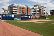 April 1, 2012. Durham, NC.. The Blue Monster got a fresh coat of paint.. During the off season, many renovations were performed on the facilities at the Durham Bulls Athletic Park, including refurbished locker rooms, a newly painted Blue Monster and many new seats installed around the park.