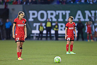 Portland, OR - Saturday, May 21, 2016: Portland Thorns FC midfielder Tobin Heath (17) about to take a free kick. The Portland Thorns FC defeated the Washington Spirit 4-1 during a regular season National Women's Soccer League (NWSL) match at Providence Park.