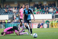 Danny Rowe of Wycombe Wanderers chases the ball during the Sky Bet League 2 match between Wycombe Wanderers and Northampton Town at Adams Park, High Wycombe, England on 3 October 2015. Photo by Andy Rowland.