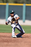 Oakland Athletics shortstop Yairo Munoz (29) during an Instructional League game against the San Francisco Giants on October 13, 2014 at Giants Baseball Complex in Scottsdale, Arizona.  (Mike Janes/Four Seam Images)