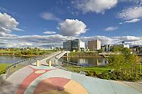 Centennial bridge in downtown Fairbanks which crosses the Chena River