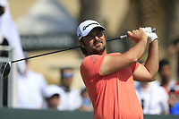 Victor Dubuisson (FRA) on the 1st during the final round of  the Saudi International powered by Softbank Investment Advisers, Royal Greens G&CC, King Abdullah Economic City,  Saudi Arabia. 02/02/2020<br /> Picture: Golffile | Fran Caffrey<br /> <br /> <br /> All photo usage must carry mandatory copyright credit (© Golffile | Fran Caffrey)