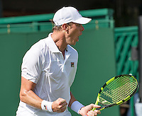 London, England, 27 june, 2016, Tennis, Wimbledon,  Sam Querrey (USA)  celebrates match point during his match against Lukas Rosol (CZE)<br /> Photo: Henk Koster/tennisimages.com