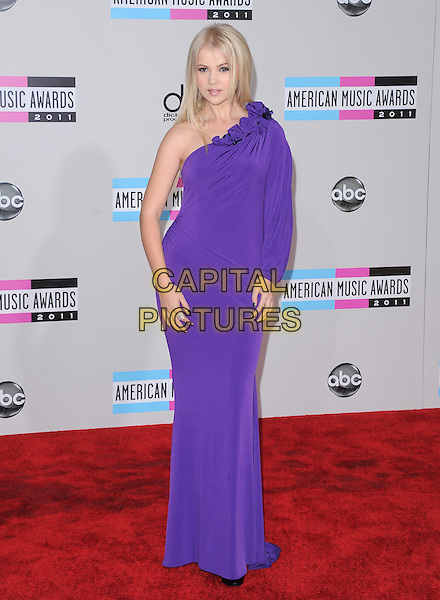 Mika Newton.2011 American Music Awards - Arrivals held at Nokia Theatre LA Live, Los Angeles, California, USA..November 20th, 2011.ama amas ama's full length purple dress one shoulder sleeve corsage trim.CAP/RKE/DVS.©DVS/RockinExposures/Capital Pictures.