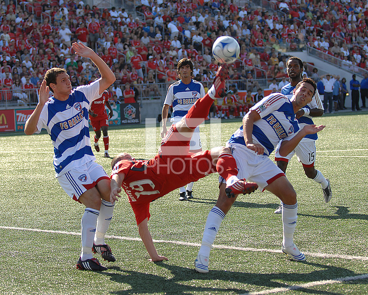 Chad Barrett (19) of Toronto FC attempts a bicycle kick at BMO Field on August 3, 2008. FC Dallas won 2-0.