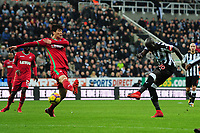 Mohamed Diame of Newcastle United shoots during Newcastle United vs Swansea City, Premier League Football at St. James' Park on 13th January 2018