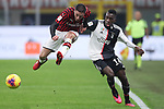 Davide Calabria of AC Milan and Blaise Matuidi of Juventus during the Coppa Italia match at Giuseppe Meazza, Milan. Picture date: 13th February 2020. Picture credit should read: Jonathan Moscrop/Sportimage
