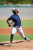 Cleveland Indians pitcher Francisco Perez (46) during an Instructional League game against the Los Angeles Dodgers on October 10, 2016 at the Camelback Ranch Complex in Glendale, Arizona.  (Mike Janes/Four Seam Images)
