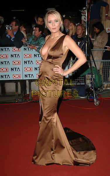 DANIELLE BRENT.The National Television Awards 2006, Royal Albert Hall, London, UK. .October 31st, 2006.full length brown satin dress hand on hip.CAP/BEL.©Belcher/Capital Pictures