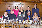 Andrew Murphy(centre) from Mountcollins enjoying a going away dinner last Saturday night before going to Australia on Sunday, pictured here in Leen's Hotel, Abbeyfeale. F l-r: Noreen Corcoran, David O'Dwyer, Andrew Murphy, Martin Murphy, Maura Broderick. B l-r: Joan Pattman, Mary Ita Murphy, Ita Pattman, Darragh Murphy and Adrain Broderick.