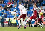 St Johnstone v Rangers&Ouml;21.05.17     SPFL    McDiarmid Park<br /> Chris Kane shoots for goal<br /> Picture by Graeme Hart.<br /> Copyright Perthshire Picture Agency<br /> Tel: 01738 623350  Mobile: 07990 594431