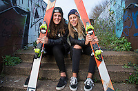 Katie (blonde hair) and Molly Summerhayes - freestyle skiers from Sheffield