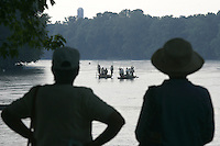 Flat bottomed Batteau boats make the annual trek on the James River from Lynchburg to Richmond stopping in Scottsville Wednesday afternoon. Folks in period costume enjoyed music, food and crafts set up along the river during the 20th annual Batteau Festival in Scottsville. Photo/Andrew Shurtleff