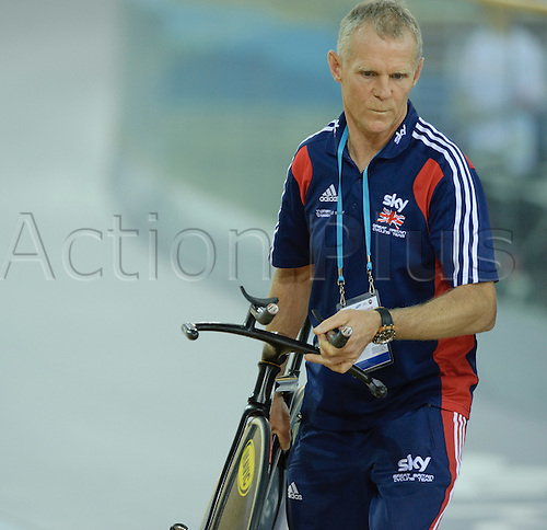 16.02.2012 London  England.  Shane Sutton British Cycling Performance Manager leads out the riders before the start of the Mens Team Pursuit on day one of the UCI Track Cycling World Cup Championships at the London Olympic Velodrome.  Part of the London Prepares Series of events organised by LOCOG, London Organising Committee Olympic Games.  .