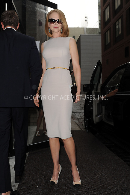 WWW.ACEPIXS.COM<br /> September 12, 2013 New York City<br /> <br /> Actress Nicole Kidman arriving to Calvin Klein Fashion Show on September 12, 2013 in New York City.<br /> <br /> By Line: Kristin Callahan/ACE Pictures<br /> <br /> ACE Pictures, Inc.<br /> tel: 646 769 0430<br /> Email: info@acepixs.com<br /> www.acepixs.com<br /> Copyright:<br /> Kristin Callahan/ACE Pictures